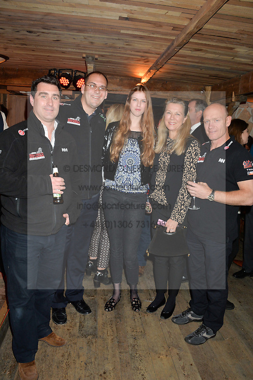 Left to right, ANDREW COOK, MARK WISE, ALIENOR D'ARENBERG, MARIE-CHRISTINE DE LAUBAREDE and ERIC PHILIPS at a party in honour of the Walking With The Wounded team members held at Bodo's Schloss, 2A Kensington High Street, London on 13th November 2013.