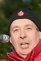 Cllr Keith Moore, East Riding County Council, speaking at an FBU march and rally against proposed cuts in frontline services. Kingston upon Hull 11/12/10...© Martin Jenkinson, tel 0114 258 6808 mobile 07831 189363 email martin@pressphotos.co.uk. Copyright Designs & Patents Act 1988, moral rights asserted credit required. No part of this photo to be stored, reproduced, manipulated or transmitted to third parties by any means without prior written permission.