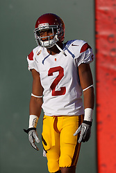 Oct 13, 2011; San Francisco CA, USA;  Southern California Trojans wide receiver Robert Woods (2) warms up before the game against the California Golden Bears at AT&T Park.  Southern California defeated California 30-9. Mandatory Credit: Jason O. Watson-US PRESSWIRE