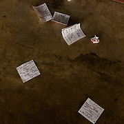 DEL MAR, CA - AUGUST 13, 2014: Discarded betting slips line the ground at the Del Mar Thoroughbred Club. CREDIT: Sam Hodgson for The New York Times