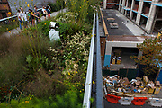View of new Chelsea Hote from the High Line. The High Line is a 2.33 km elevated linear park, greenway and rail trail following the path of railway on Manhattan's West Side in New York City.
