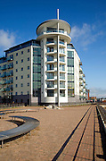 Modern marina apartment buildings, Newhaven, East Sussex, England