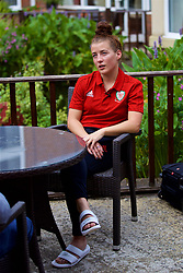 NEWPORT, WALES - Tuesday, August 28, 2018: Wales' Angharad James is interviewed by a television reporter during a media session at the Coldra Court Hotel ahead of the final FIFA Women's World Cup 2019 Qualifying Round Group 1 match against England. (Pic by David Rawcliffe/Propaganda)