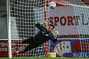 Forest Green Rovers goalkeeper Joe Wollacott(13), on loan from Bristol City warming up during the EFL Sky Bet League 2 match between Morecambe and Forest Green Rovers at the Globe Arena, Morecambe, England on 22 October 2019.