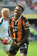 Hull City striker Abel Hernandez (9) in despair at missing a shot during the Premier League match between Hull City and Leicester City at the KCOM Stadium, Kingston upon Hull, England on 13 August 2016. Photo by Ian Lyall.