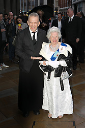 The Fashion World of Jean Paul Gaultier. Jean Paul Gaultier and his mum (unconfirmed) attend the theatrically-staged exhibition The Fashion World of Jean Paul Gaultier at Barbican, London, United Kingdom. Monday, 7th April 2014. Picture by Daniel Leal-Olivas / i-Images