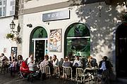 A riverside bar on Cankarjevo Nabrezje in the Slovenian capital, Ljubljana, on 25th June 2018, in Ljubljana, Slovenia.