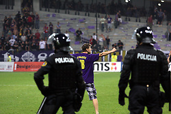 Viole, fans of Maribor on the court during the UEFA Europa League play-offs second leg match between NK Maribor and US Citta di Palermo at Ljudski vrt Stadium on August 26, 2010 in Maribor, Slovenia. Maribor defeated Palermo 3-2 but Palermo won in total 5-3 and qualified for Europa league. (Photo by Marjan Kelner / Sportida)