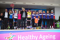 The jersey wearers gather on the podium after Stage 2 of the Healthy Ageing Tour - a 19.6 km team time trial, starting and finishing in Baflo on April 6, 2017, in Groeningen, Netherlands.
