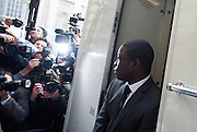 Kweku Adoboli, arriving at City of London magistrates on   September 22nd 2011.<br /> Today December 20th 2011 Kweku Adoboli, 31, from Clark Street, east London,will appear at Southwark Crown court for Pleas. Adoboli is accused of gambling away a record &pound;1.5 billion while working at Swiss banking giant UBS. He faces two charges of fraud.