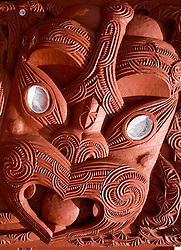 Rotorua:  Carving detail from the front of the Tama Te Kapua meeting house, built in 1873 and still in daily use by the Te Arawa tribe.  It is easy walking distance from many parts of downtown Rotorua.