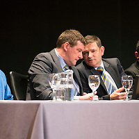 St Johnstone FC Youth Academy Presentation Night at Perth Concert Hall..21.04.14<br /> Manager Tommy Wright talks with Chairman Steve Brown<br /> Picture by Graeme Hart.<br /> Copyright Perthshire Picture Agency<br /> Tel: 01738 623350  Mobile: 07990 594431