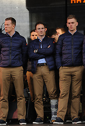 Mayo players Donal Vaughan, Alan Dillon and Kevin Keane at the team's homecoming in Castlebar on sunday.<br />