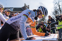 Look who's back. Marianne Vos signs in - Ronde van Drenthe 2016, a 138km road race starting and finishing in Hoogeveen, on March 12, 2016 in Drenthe, Netherlands.