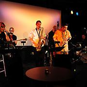 PMAC Jazz Faculty members porform at The Music Hall Loft, Portsmouth, NH. Nicole Hajj (voice), Bryan Bergeron Killough (guitar), Matt Langley (tenor sax), Russ grazier, Jr. (alto sax), Nathan Therrien (bass), and Mike Walsh (drums).
