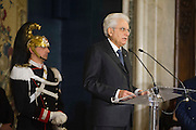 Rome dec 21th 2015, traditional Christmas greetings at Presidential Palace. In the picture Sergio Mattarella with an honor guard named Corazziere