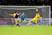 Northampton striker Marc Richards has a shot during the The FA Cup match between Northampton Town and Milton Keynes Dons at Sixfields Stadium, Northampton, England on 9 January 2016. Photo by Dennis Goodwin.