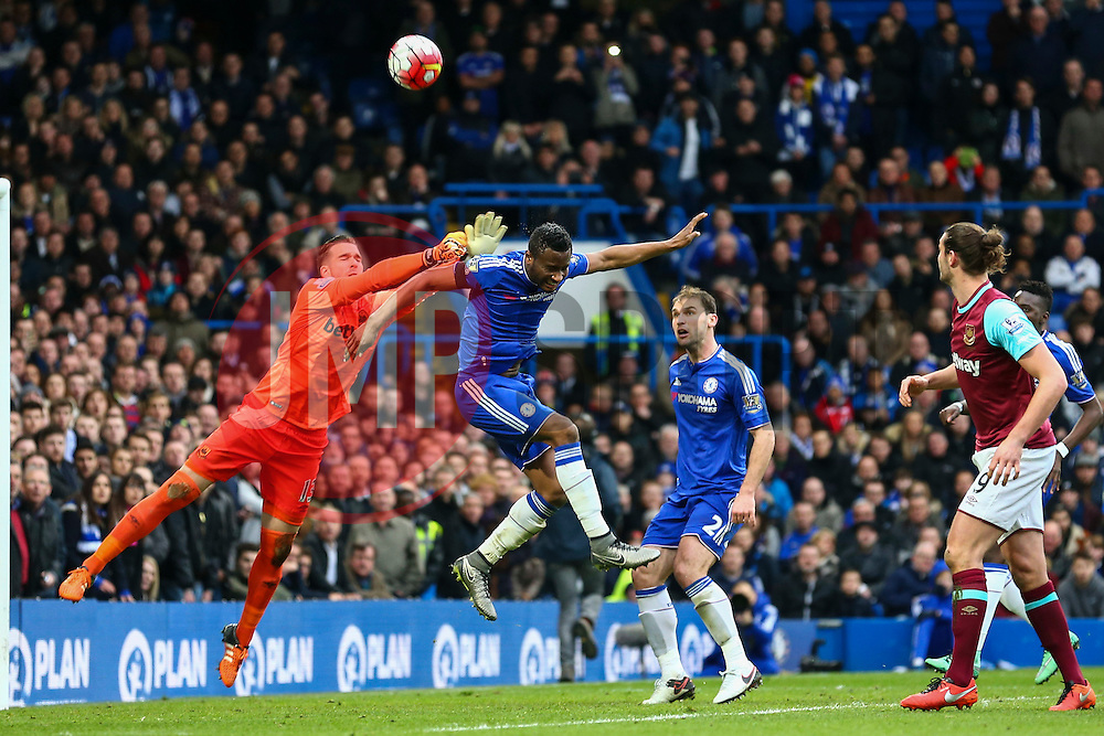 Mikel John Obi of Chelsea heads the ball over the bar - Mandatory byline: Jason Brown/JMP - 19/03/2016 - FOOTBALL - London, Stamford Bridge - Chelsea v West Ham United - Barclays Premier League