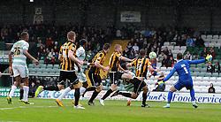 Yeovil Town's Gozie Ugwu scores his sides goal- Photo mandatory by-line: Harry Trump/JMP - Mobile: 07966 386802 - 25/04/15 - SPORT - FOOTBALL - Sky Bet League One - Yeovil Town v Port Vale - Huish Park, Yeovil, England.