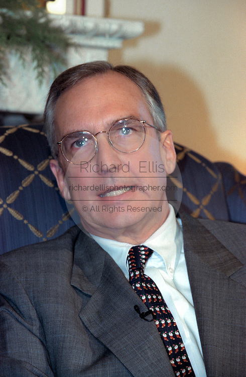 Incoming House Speaker Bob Livingston during his first news conference December 3, 1998 in Washington, DC. Livingston said he hopes the House wraps up its impeachment inquiry this year but held out the possibility it could carry over to the next Congress unless the Judiciary Committee completes its work next week.