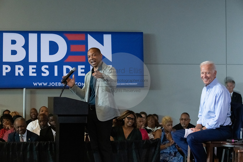 South Carolina State Senator Marlon Kimpson introduces former Vice President Joe Biden during a town hall meeting at the International Longshoreman's Association Hall July 7, 2019 in Charleston, South Carolina.