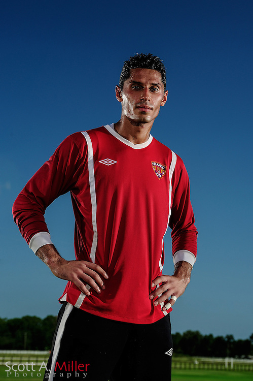 Portrait session with Orlando City Lions goalkeeper Miguel Gallardo (1) at the Seminole Soccer Complex on August 24, 2012 in Sanford, Florida. ..©2012 Scott A. MIller..