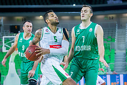 Devin Michael Oliver of Petrol Olimpija and Haris Cucovic of KD Ilirija during basketball match between KK Petrol Olimpija and KK Ilirija in 1st Round of Nova KBM Basketball League 2017/18, on December 29, 2017 in Arena Stozice, Ljubljana, Slovenia. Photo by Ziga Zupan / Sportida