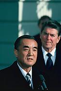 Yasuhiro Nakasone ,Japan Prime Minister visits the Withe House on May 27, 1983<br />Photo by Dennis Brack