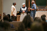 Djed Snead, Carolyn Edwards, and David Anderson perform a scene during a historical reenactment of Watch Night at Nazareth College on Tuesday, November 4, 2014. The first watch night was December 31, 1862, the night before the President Lincoln issued the Emancipation Proclamation.