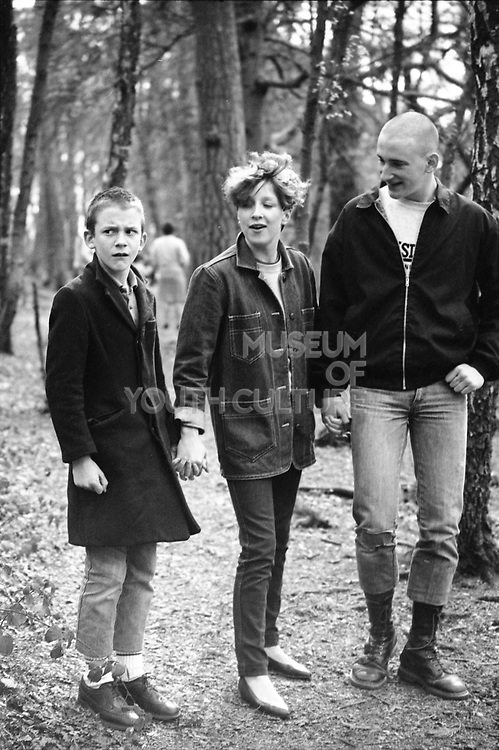 Neville, Teresa and Gavin in Black Park, Buckinghamshire, UK, 1980's