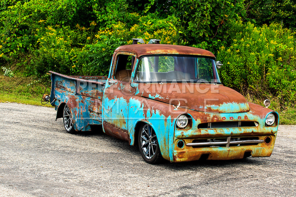 1957 Dodge Pickup Truck Rat Rod on roadway