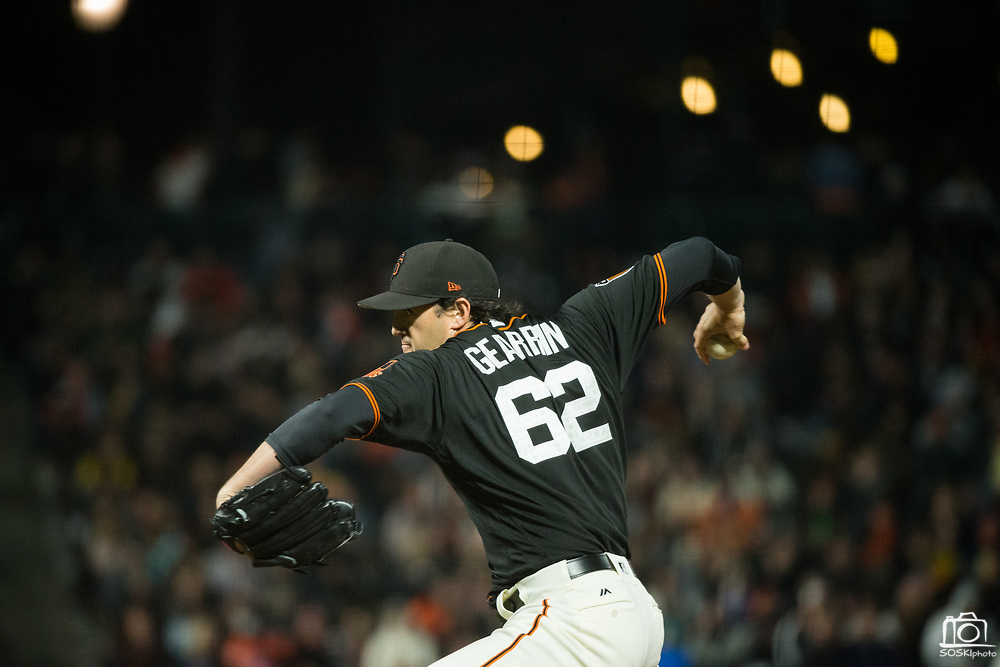 San Francisco Giants relief pitcher Cory Gearrin (62) pitches to the Oakland Athletics at AT&T Park in San Francisco, California, on March 30, 2017. (Stan Olszewski/Special to S.F. Examiner)