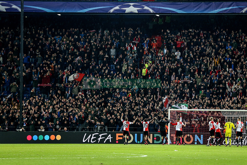 fans, supporters, celebrate during the UEFA Champions League group F match between Feyenoord Rotterdam and SSC Napoli at the Kuip on December 06, 2017 in Rotterdam, The Netherlands