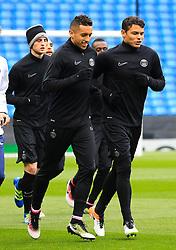 Thiago Silva (R) warms up - Mandatory byline: Matt McNulty/JMP - 07966386802 - 11/04/2016 - FOOTBALL - Manchester City v PSG - Etihad Stadium -Manchester,England - UEFA Champions League