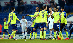 Derby County celebrate the win over Leeds United - Mandatory by-line: Robbie Stephenson/JMP - 31/10/2017 - FOOTBALL - Elland Road - Leeds, England - Leeds United v Derby County - Sky Bet Championship