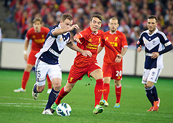 MELBOURNE, AUSTRALIA - Wednesday, July 24, 2013: Liverpool's Iago Aspas in action against Melbourne Victory during a preseason friendly match at the Melbourne Cricket Ground. (Pic by David Rawcliffe/Propaganda)