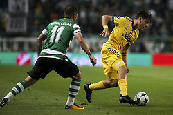 October 31, 2017 - Lisbon, Portugal - Juventus's forward Paulo Dybala (R) vies with Sporting's forward Bruno Cesar during the Champions League  football match between Sporting CP and Juventus FC at Jose Alvalade  Stadium in Lisbon on October 31, 2017. (Credit Image: © Carlos Costa/NurPhoto via ZUMA Press)