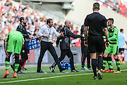 Mark Cooper gets involved during the Conference Premier Final match between Forest Green Rovers and Grimsby Town FC at Wembley Stadium, London, England on 15 May 2016. Photo by Shane Healey.