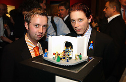 Left to right, Artist duo 'THE LITTLE ARTISTS' DARREN NEAVE and JOHN CAKE at an aution of art inspired by footballer David Beckham in aid of The National Deaf Children's Society and held at Christie's, St.James's, London on 4th November 2004.<br /><br />NON EXCLUSIVE - WORLD RIGHTS