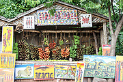 Food stall in the Datoga tribe village for sale of souvenirs to tourists, Lake Eyasi, Tanzania