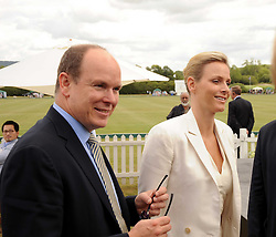 Asprey World Class Cup polo held at Hurtwood Park Polo Club, Ewhurst, Surrey on 17th July 2010.<br /> Picture shows:- PRINCE ALBERT OF MONACO and CHARLENE WITTSTOCK