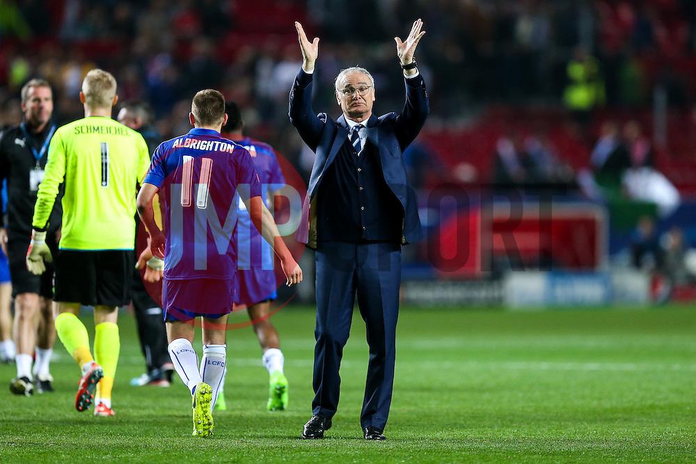 Leicester City manager Claudio Ranieri thanks the away fans after a 2-1 loss - Rogan Thomson/JMP - 22/02/2017 - FOOTBALL - Estadio Ramon Sanchez Pizjuan - Seville, Spain - Sevilla FC v Leicester City - UEFA Champions League Round of 16, 1st Leg.