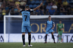 August 31, 2018 - Vila-Real, Castellon, Spain - Cristhian Ricardo Stuani Curbelo of Girona FC celebrates the victory during the La Liga match between Villarreal CF and Girona FC at Estadio de la Ceramica on August 31, 2018 in Vila-real, Spain  (Credit Image: © David Aliaga/NurPhoto/ZUMA Press)