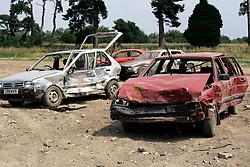 UK ENGLAND NORFOLK SWAFFHAM 14JUL05 - Old banger cars that get raced and crashed at a 3-acre field begind estate of Micheal Carroll, a 22-year old binman who turned a millionnaire by winning £ 9.7 million in the National Lottery. The self-styled 'King of Chavs' was recently served with an anti-social behaviour order after driving through Downham Market in Norfolk firing ball bearings from his window.  ..jre/Photo by Jiri Rezac..© Jiri Rezac 2005..Contact: +44 (0) 7050 110 417.Mobile:  +44 (0) 7801 337 683.Office:  +44 (0) 20 8968 9635..Email:   jiri@jirirezac.com.Web:    www.jirirezac.com