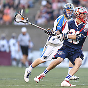 Brent Adams #28 of the Boston Cannons shoots the ball during the game at Harvard Stadium on May 17, 2014 in Boston, Massachuttes. (Photo by Elan Kawesch)