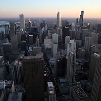 An aerial view of the downtown Chicago skyline as seen from the 96th floor of the John Hancock Center on Monday, Oct. 6, 2014 in Chicago, Illinois. (AP Photo/Alex Menendez)