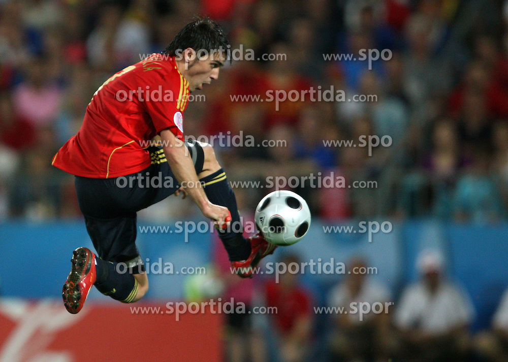David Villa of Spain (7) during the UEFA EURO 2008 Quarter-Final soccer match between Spain and Italy at Ernst-Happel Stadium, on June 22,2008, in Wien, Austria. Spain won after penalty shots 4:2. (Photo by Vid Ponikvar / Sportal Images)