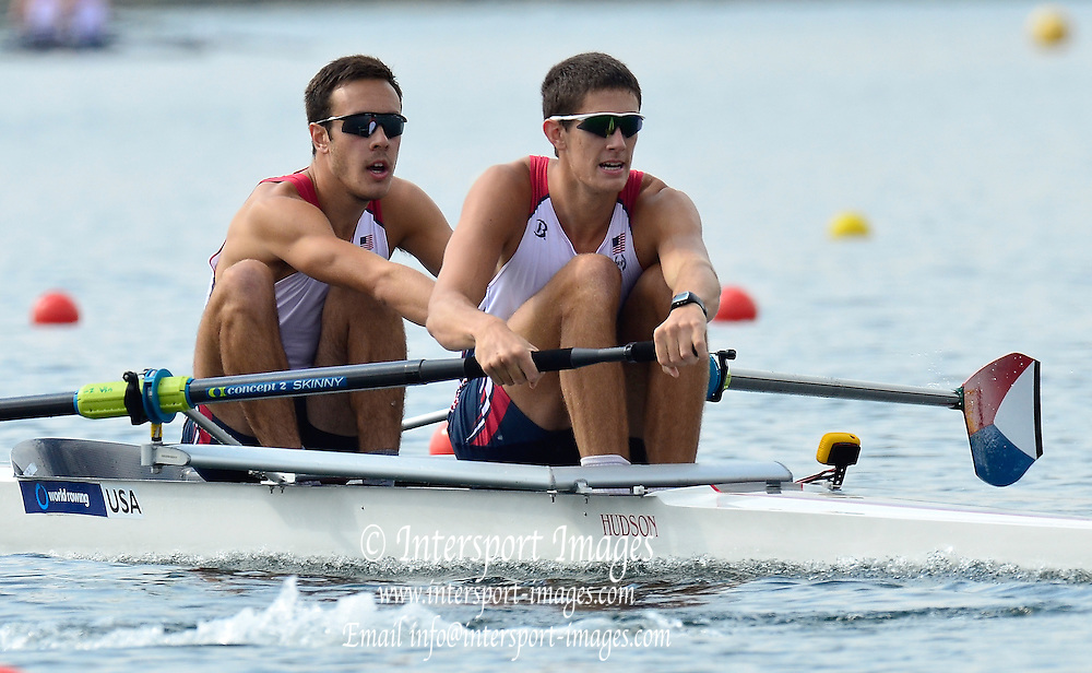 Trackai. LITHUANIA. USA BM2-. Bow Dariush AGHAI and Austin HACK,  2012 FISA U23 Rowing Championships, Lake Galve.   10:19:07 Thursday 12/07/2012 [Mandatory credit: Peter Spurrier/Intersport Images]..Rowing, U23, 2012.