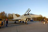 """03 NOV 2003, LAAGE/GERMANY:<br /> Eurofighter EF 2000 """"Typhoon"""" hier in der zweisitzigen Ausbildungsversion, neues Jagdflugzeug der Bundesluftwaffe, Jagdgeschwader 73 """"Steinhoff"""", Fliegerhorst Laage<br /> IMAGE: 20031103-01-077<br /> KEYWORDS: Bundeswehr, Bundesluftwaffe, Jet, Kampfflugzueg, am Boden"""