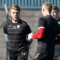 St Johnstone Training....02.10.15<br /> Keeper Zander Clark pictured in training this morning ahead of facing Aberdeen tomorrow in place of the suspended Alan Mannus<br /> Picture by Graeme Hart.<br /> Copyright Perthshire Picture Agency<br /> Tel: 01738 623350  Mobile: 07990 594431